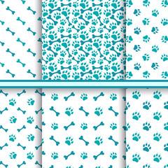 Seamless cat animal patterns of paw footprint - vector set