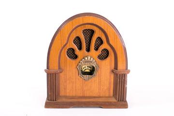 retro radio on isolated white background