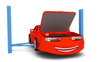cartoon car in auto service