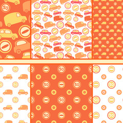 Set of seamless toy cars patterns - orange vector pattern for ba