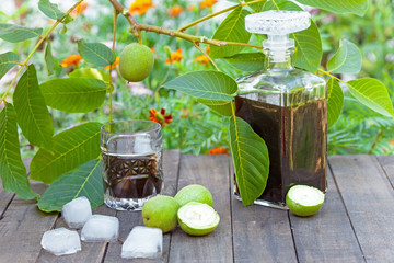 Walnut liqueur with ice