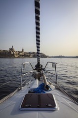 Malta Island, view of Valletta from a sailing boat