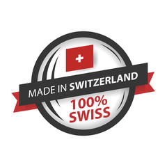 made in Switzerland seals, Swiss flag, emblem (vector Art)