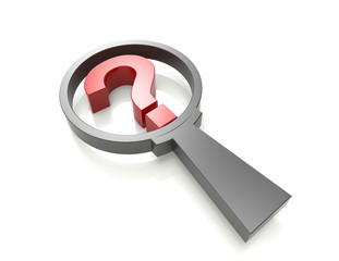 question mark in magnifying glass