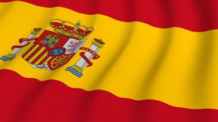 Waving national flag of Spain