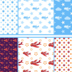 Vector set of seamless baby patterns with cartoon airplanes