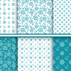 Vector set of seamless patterns with anchors and ship wheels