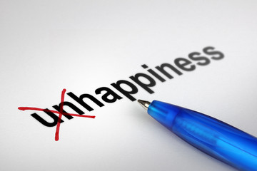 Changing the meaning of word. Unhappiness into Happiness.