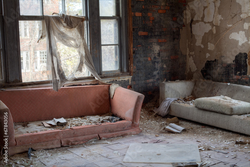 canvas print picture Urbex - Interior of abandoned house, in light HDR processing