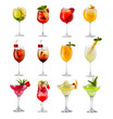 Set of alcoholic cocktails isolated on white