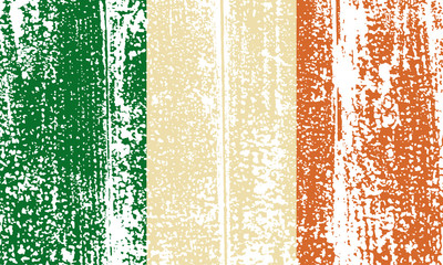 Irish grunge flag. Vector illustration.