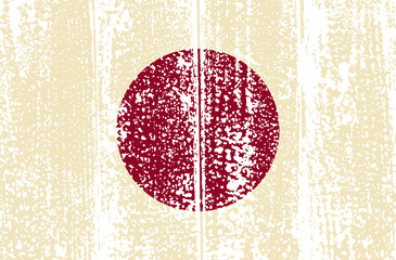 Japanese grunge flag. Vector illustration.