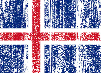 Icelandic grunge flag. Vector illustration.
