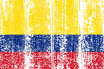 Colombian grunge flag. Vector illustration.