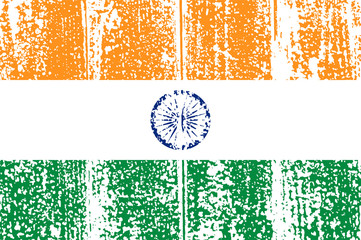 Indian grunge flag. Vector illustration.