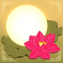 Mid Autumn Festival Lotus Flower and Moon