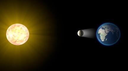 Eclissi solare, spazio terra luna sole