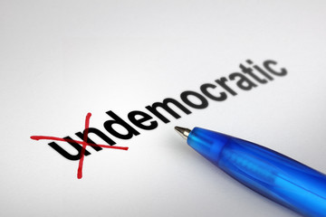 Changing the meaning of word. Undemocratic into Democratic.