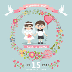 Wedding invitation with baby Bride,groom,floral wreath