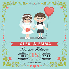Wedding invitation with baby Bride,groom,floral frame
