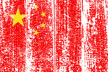 Chinese grunge flag. Vector illustration.