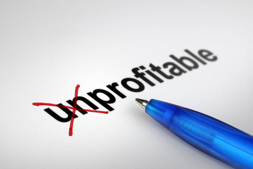 Changing the meaning of word. Unprofitable into Profitable.