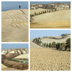 collage with arid landscape in Tuscany called Crete Senesi