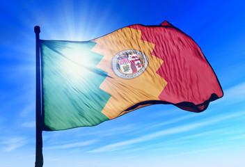 Los Angeles (USA) flag waving on the wind