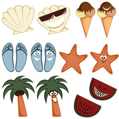Collection of cute summertime character icons