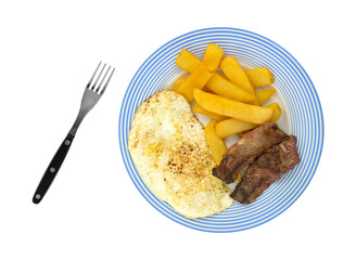 Breakfast meal of steak eggs and potatoes on plate with fork