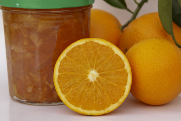 Jam and Fresh oranges