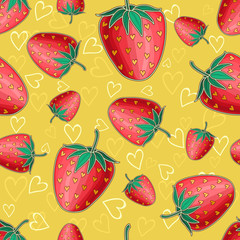 Yellow seamless background with red shiny strawberries