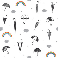 Scratched seamless pattern with rain and umbrellas