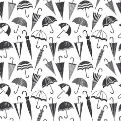 Scratched vector seamless pattern with umbrellas