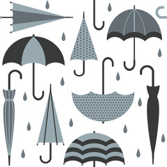 Vector seamless pattern with umbrellas and raindrops