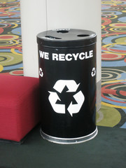 A recycling bin in a lobby
