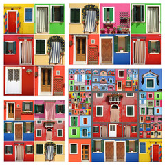 colorful abstract facade constructed of images of Burano