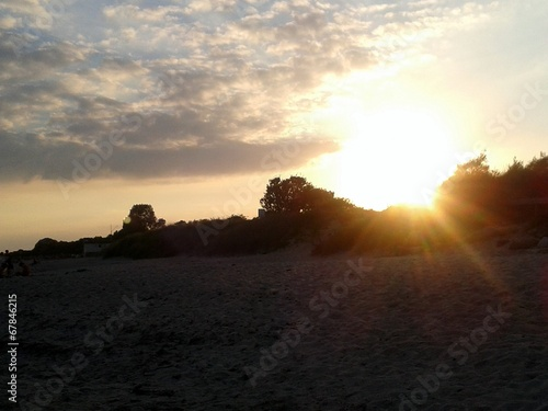 canvas print picture Sonnenuntergang am Strand