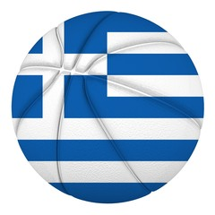 Basketball ball with Greece flag. Isolated on white.