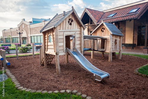 big wooden playground at shopping mall - 67848019
