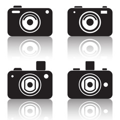 Photo camera vector silhouettes