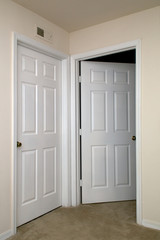 two interior doors one open