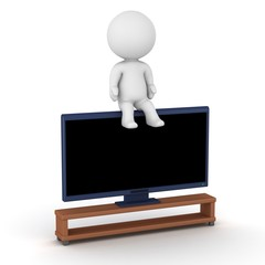 3D Character sitting on HDTV