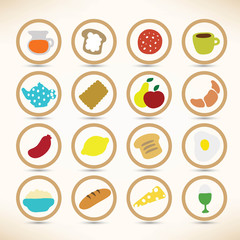 Vector icons collection of breakfast and lunch Ingredients