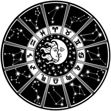 Znak zodiaku i constellations.horoscope circle.black i bieli