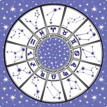 Znak zodiaku i constellations.horoscope circle.black i bieli
