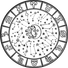 Horoskop circle.Zodiac sign.Black i bieli