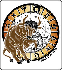 Taurus and the zodiac sign.Horoscope circle. Vector Illustration