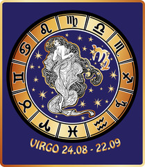 Virgo zodiac sign.Horoscope circle.Illustration
