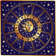 Zodiac sign and constellations.Horoscope circle.Retro